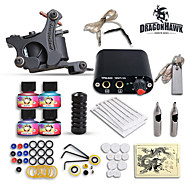 Dragonhawk® High Quality Complete Tattoo Kit Set 1 tattoo Machine Power Supply  4 Color Inks