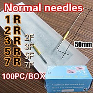 Normal Eyebrow Needles Permanent Tattoo Makeup Needle Regular Machine Needles Sterilized R/ F Sizes Assorted 100pcs/Box