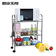 ChuYuWuXian® Stainless Steel  60cm Three Layers Storage Shelf  Microwave Oven Shelf