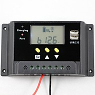 30A PWM Solar Controller Battery Charge Regulator Dual USB 12V 24V LCD