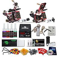 Kit de tatouage complet 2 x Machine à tatouer en fonte pour le traçage et l'ombrage 2 Machines de tatouage LCD alimentationEncres