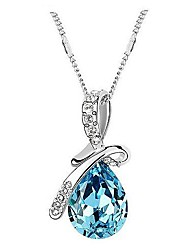 Women's Pendant Necklaces Crystal Drop Crystal Rhinestone Platinum Plated Alloy Fashion Elegant Rose Red Green Blue Champagne Jewelry For