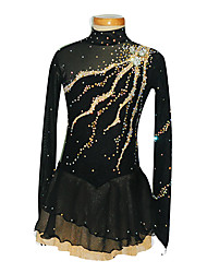 Ice Skating Dress Women's / Girl's Long Sleeve Skating Skirts & Dresses Figure Skating Dress Spandex Black Skating WearPerformance /