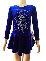 Ice Skating Dress Women's Long Sleeve Skating Skirts & Dresses Dresses Figure Skating Dress Breathable Wearproof Velvet Blue Skating Wear
