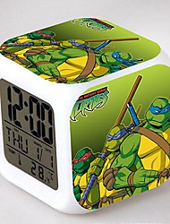 Ninja Turtles 7 Color Change Digital Alarm Clock LED Night Light For Kids