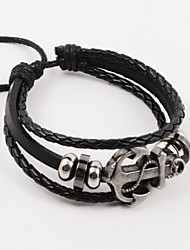 Vilam® Vintage Hematite Anchor Black Handmade Woven Leather Bracelet
