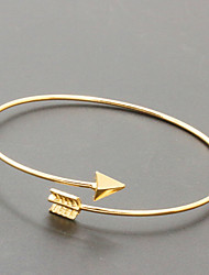 An Arrow Through the Heart gold/silver Cuff Bangle Bracelet Jewelry Set (6*7cm)