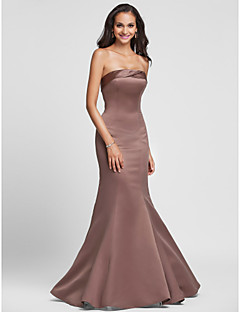 Lanting Bride Floor-length Satin Bridesmaid Dress - Lace-up Trumpet / Mermaid Strapless Plus Size / Petite with Side Draping