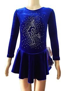 Ice Skating Dress Women's Long Sleeve Skating Skirts & Dresses Dresses Figure Skating Dress Breathable Wearproof Velvet Blue Skating Wear