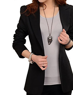 Women's All Seasons Blazer,Solid Long Sleeve Black Nylon Medium
