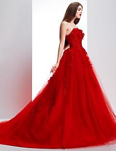 32f67b1c8bd Επίσημο Βραδινό Φόρεμα Βραδινή τουαλέτα Στράπλες / Κροσσωτό Ουρά Δαντέλα /  Τούλι με Δαντέλα