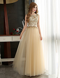 ed1c239969 Formal Evening Dress A-line Bateau Floor-length Tulle with Appliques    Beading