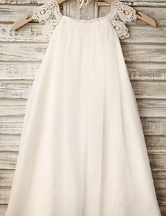 Sheath / Column Knee-length Flower Girl Dress - Chiffon / Lace Sleeveless Scoop with