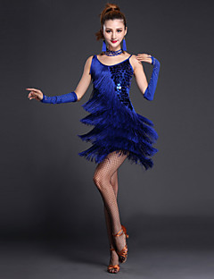 Latin Dance Dresses Women's Performance Polyester / Lycra Sequins / Tassel(s) 4 Pieces