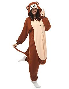 Kigurumi Pajamas Monkey Leotard/Onesie Halloween Animal Sleepwear White Patchwork Polar Fleece Kigurumi Unisex Halloween