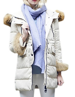Women's Regular Padded Coat,Simple Casual/Daily Solid-Polyester Polyester Long Sleeve Hooded