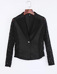 Women's Lace Sexy Fall Blazer,Solid Notch Lapel Long Sleeve White/Black Cotton/Polyester/Nylon Thin