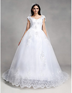 A-line Wedding Dress Vintage Inspired Chapel Train V-neck Lace Tulle with Appliques Sequin Beading